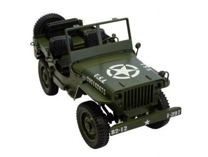 Legendárny RC Jeep Willys 1:12 plne proporcionálny, 4x4, zelený