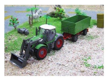 RC traktor so sklápacou vlečkou a funkčnou radlicou