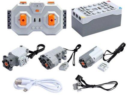 RC systém pre LEGO, CaDA a Mechanical Masters, AKUpack, 2x motor, servo, LED, ovládač