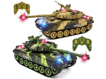 RC WAR TANK IR, SADA 2 VELKÝCH bojujúcich infra tankov, LED, zvuky, otočná veža, 100% RTR