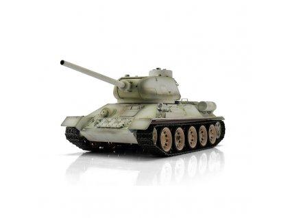 RC tank T-34/85 WINTER BB 1:16, proporcionálny, dym a zvuk, kovové pásy a spodok trupu, RTR