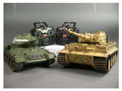 IR tanky T34/85 a German Tiger na diaľkové ovládanie