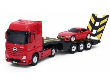 Rc kamión 2v1 Mercedes-Benz Actros + AMG GT3 1:24 - červený