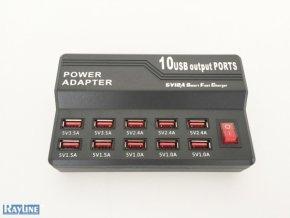 USB rychlonabíjač s 10-timi USB portami 5V12A
