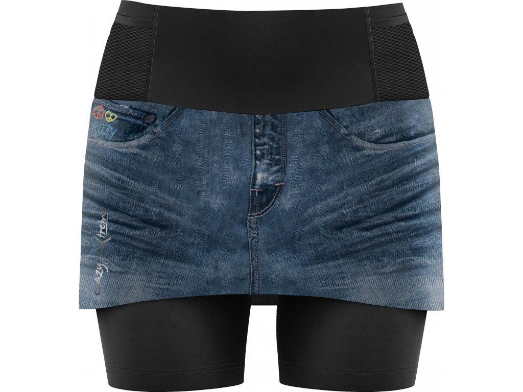 S20045013D 00 Skort Lightning Woman X016 Print Dark Jeans