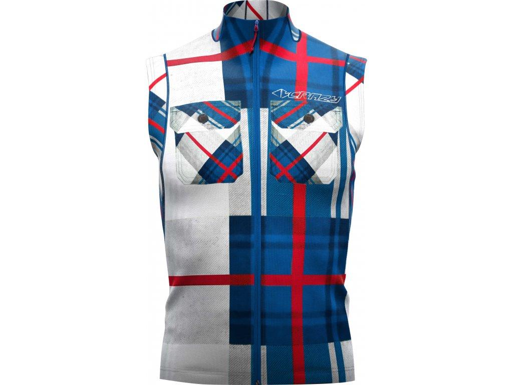 W18035023U 00 Vest Hugo Man X019 Print Blue Scottish