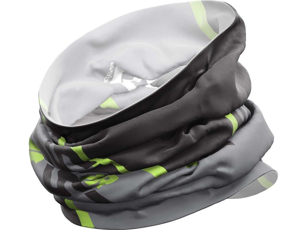 W18385001X 00 Neck Gaiter Light X020 Black Gray Green Fluo