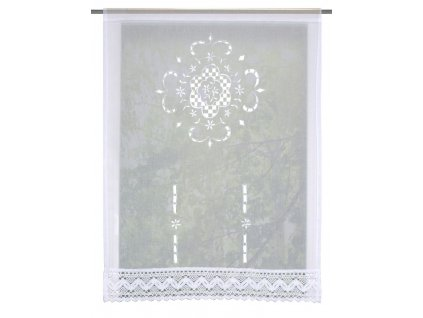 Záclona vitrážová, vyšívaná s krajkou, lněná struktura, Rokaj, Bílá