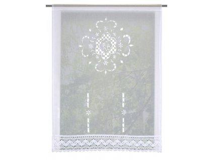 Záclona vyšívaná vitrážová, lněná struktura, Bílá