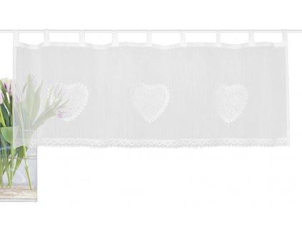 Záclona vitrážová s poutky, krajka, batist, Corazon, Bílá