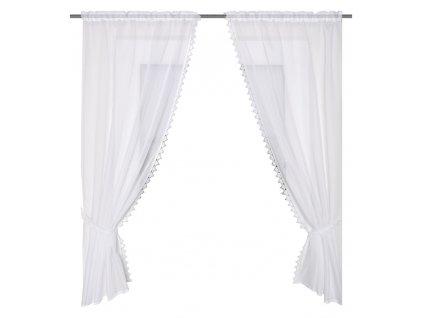 Záclona dvoudílná z batistu, Bílá