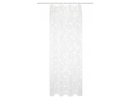 Záclona vyšívaná, dekor lístků, lněná struktura, Aidina, Bílá