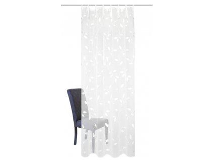 """Záclona vyšívaná, dekor lístků, lněná struktura """"Aidina"""", Bílá"""