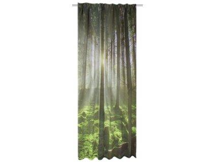 Závěs kusový, tkanina, potisk lesu, Zelená