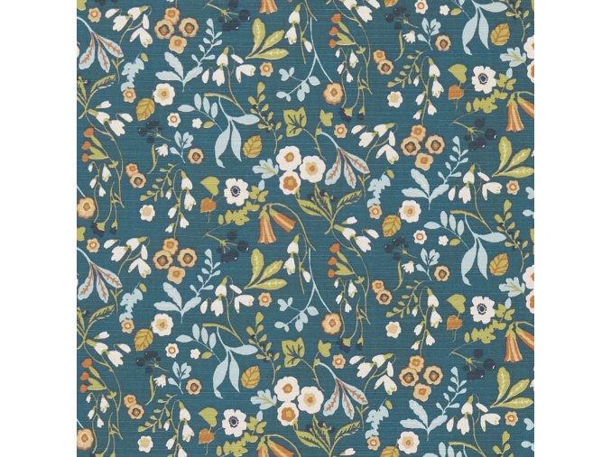 Bavlněná látka Květy petrolejové
