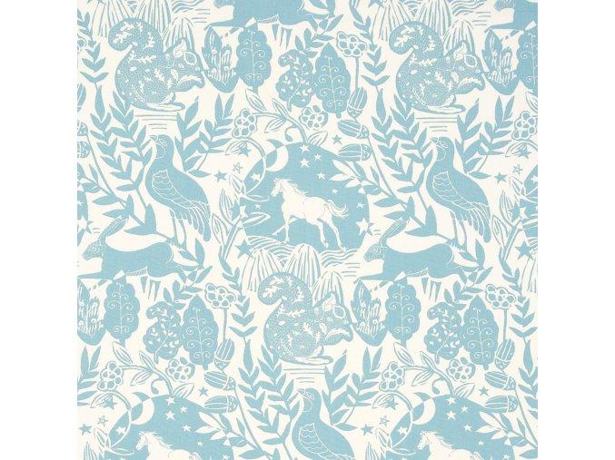Bavlněná látka Fauna modrá