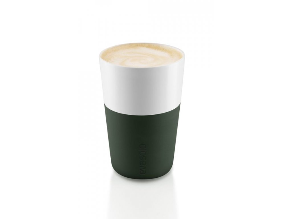 15093 hrnky na cafe latte forest green 360ml set 2ks eva solo