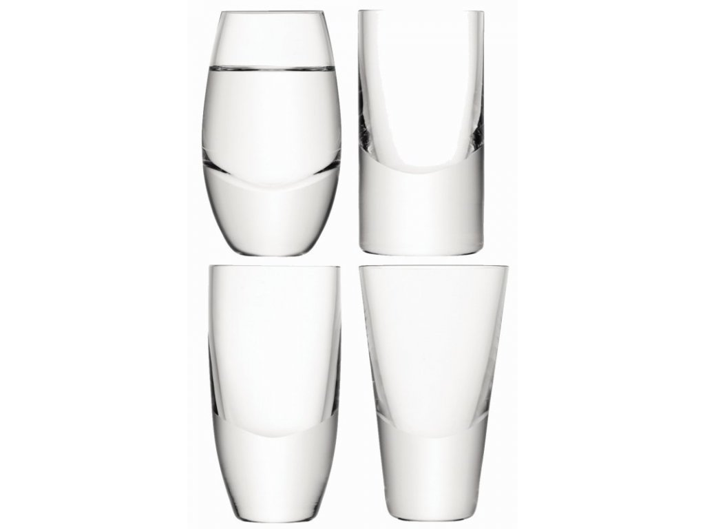 27422 lulu sklenice na vodku set 4ks mix tvaru lsa handmade