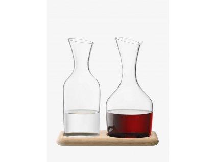44409 3 sada karaf na vodu a vino dubovy podstavec wine 1 2 l 1 4 l cire lsa international