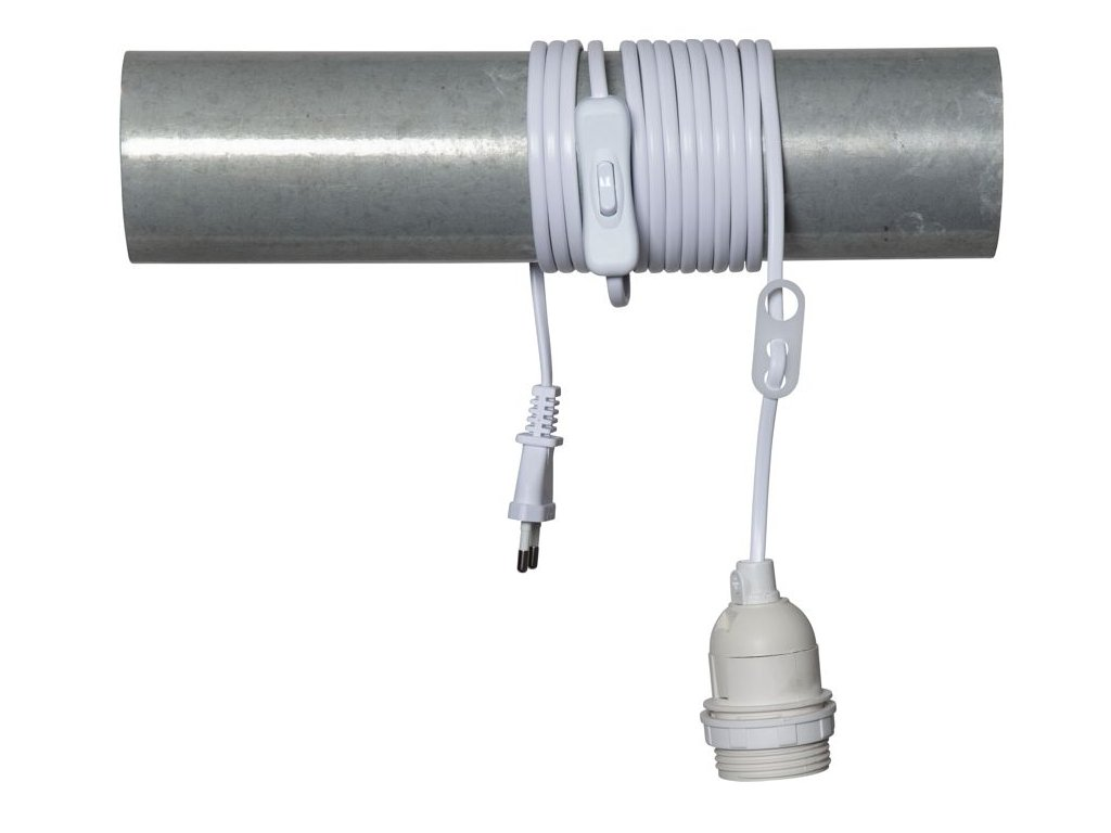kabel s objimkou e27 a vypinacom biely