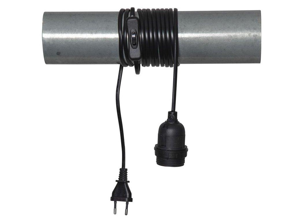 kabel s objimkou e27 a vypinacom cierny