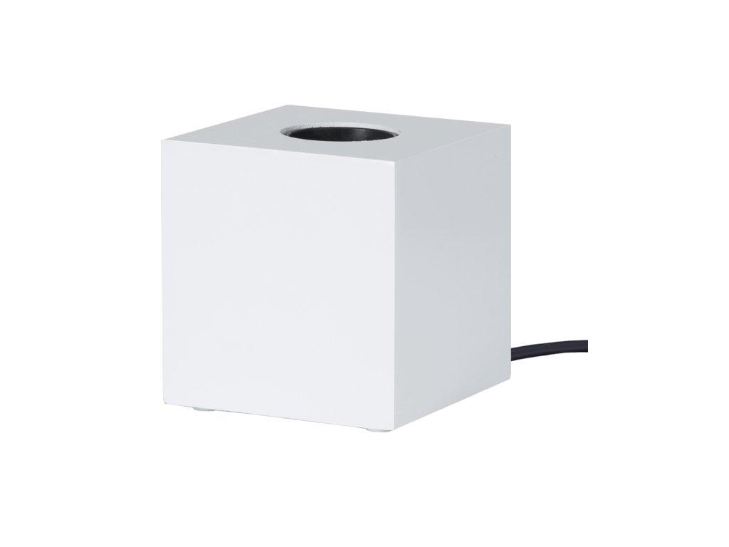 stolna lampa na ziarovku biela kub e27