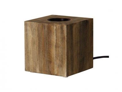 stolna lampa na ziarovku drevena kub