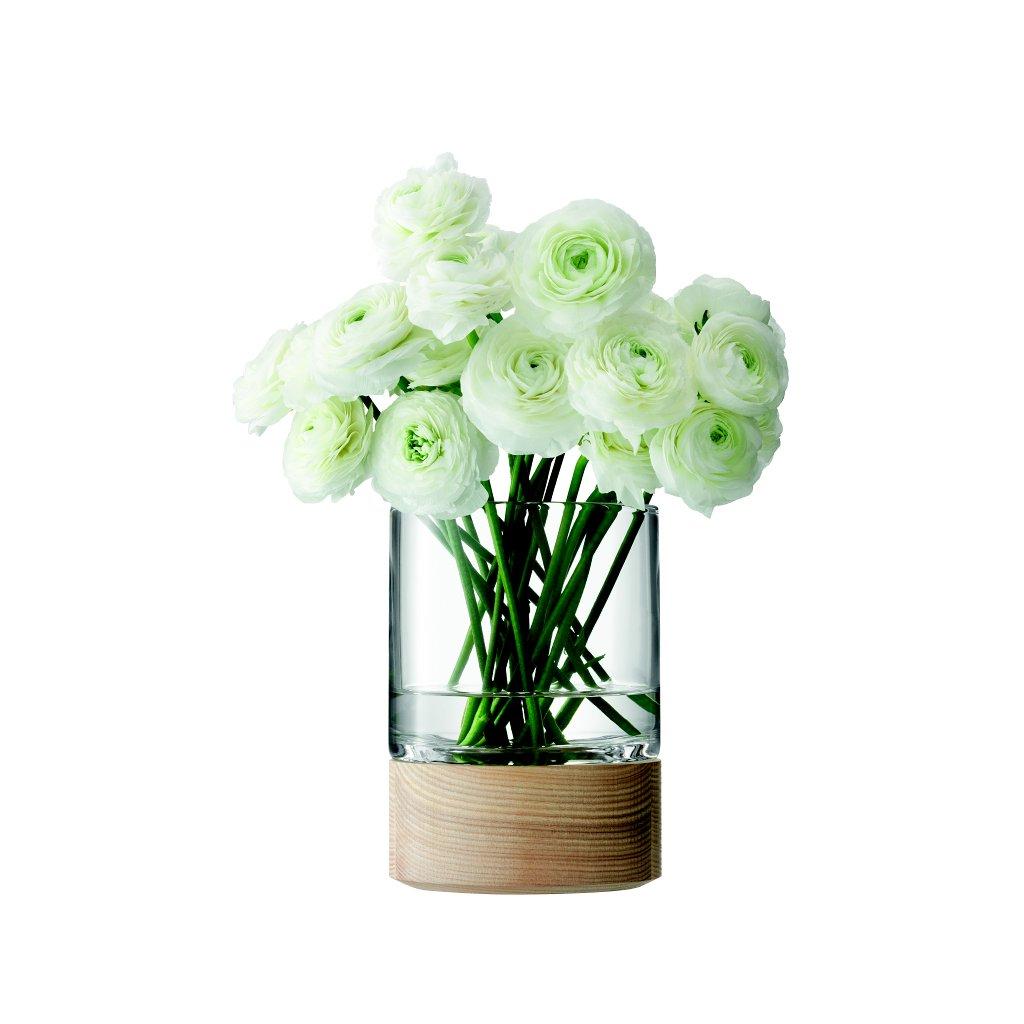 14387 lsa lotta sklenena vaza s jasanem 18cm handmade