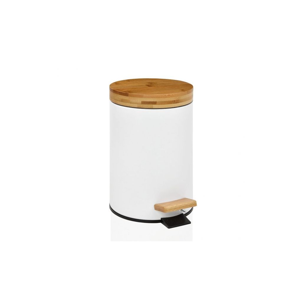 papelera de bano blanca con tapa de madera a pedal de cierre lento