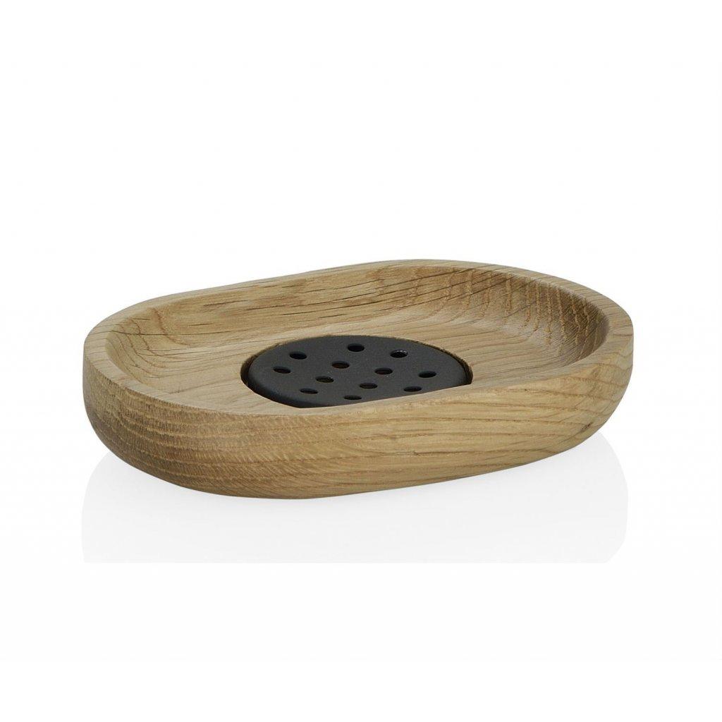 jabonera de madera de roble y acero inoxidable negro