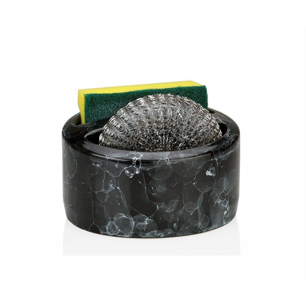 soporte para esponja y estropajo de ceramica negra efecto marmol