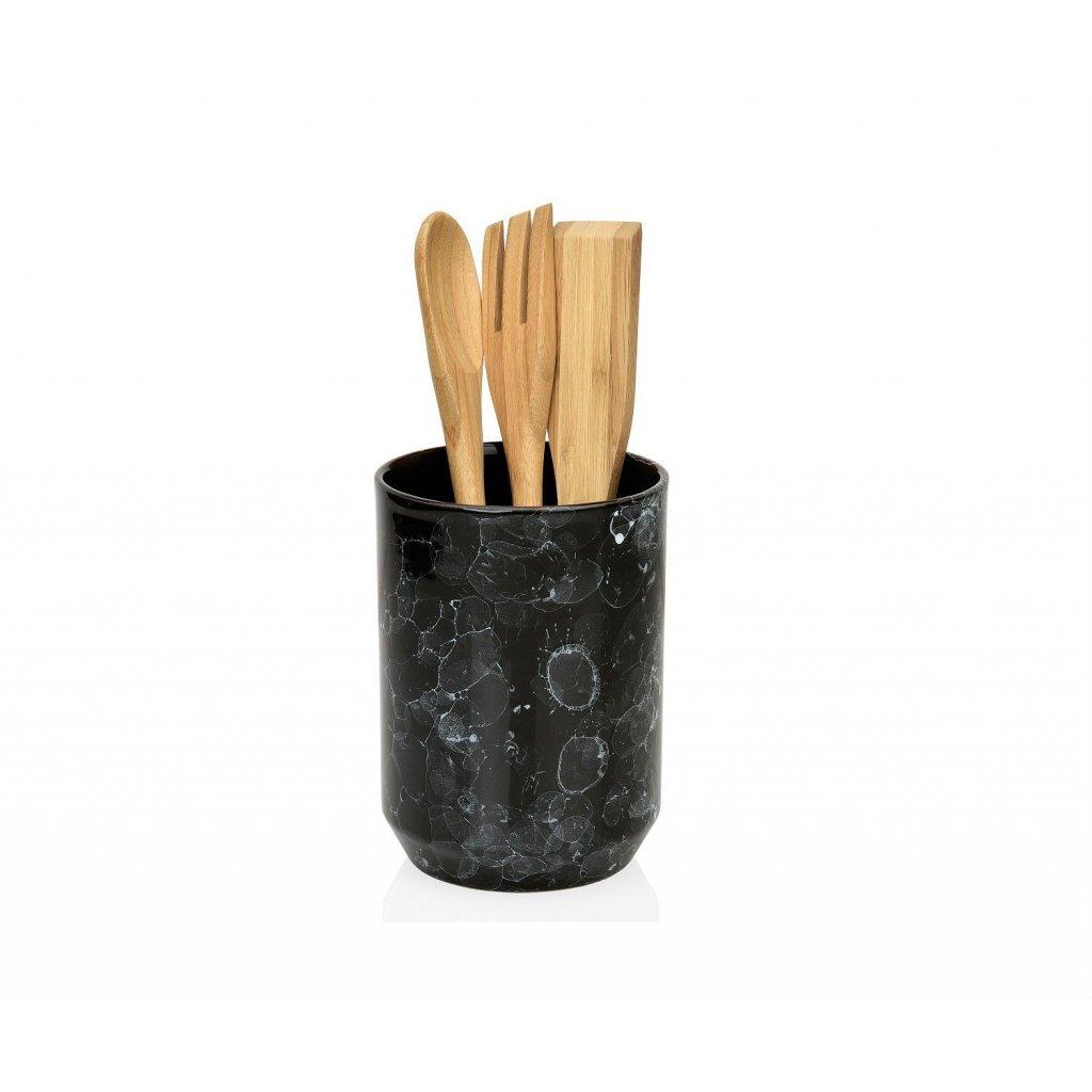 bote para utensilios de cocina de ceramica negra efecto marmol