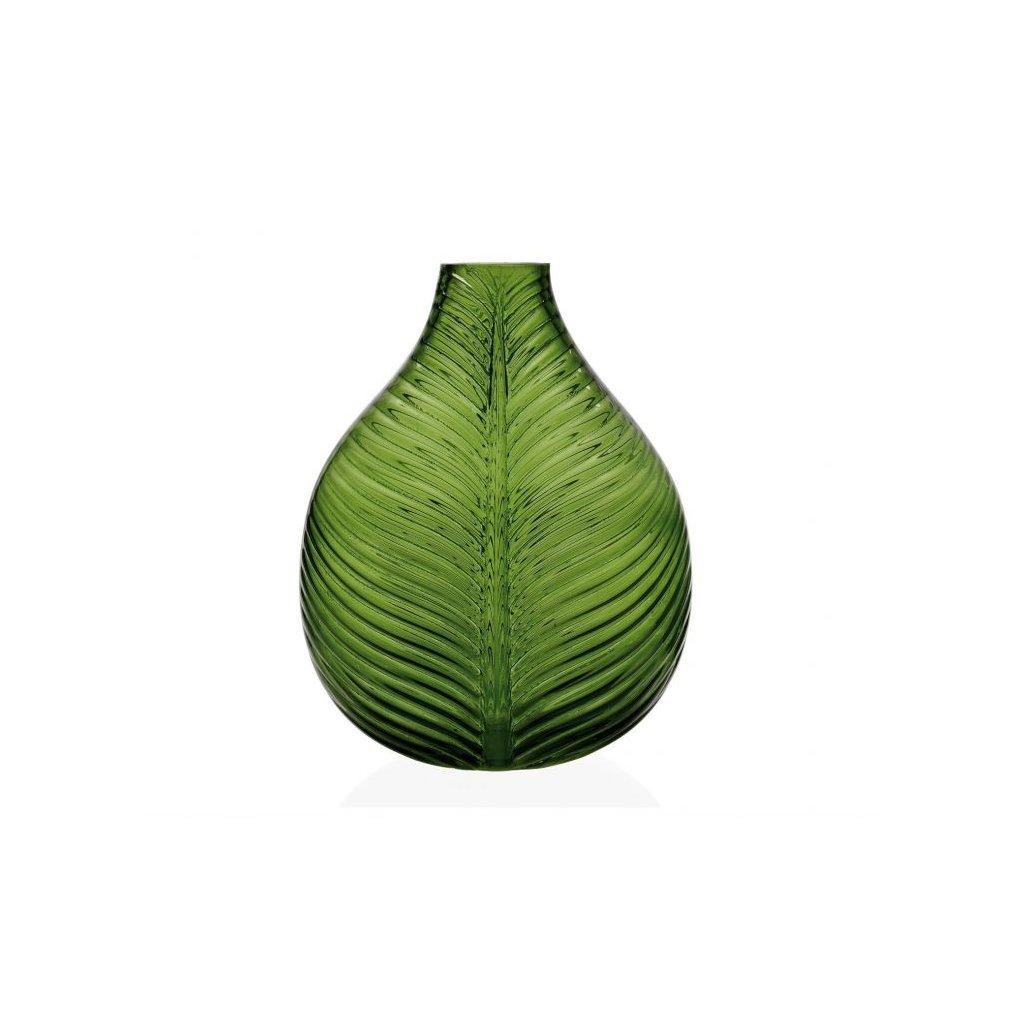 florero de cristal verde con forma de hoja