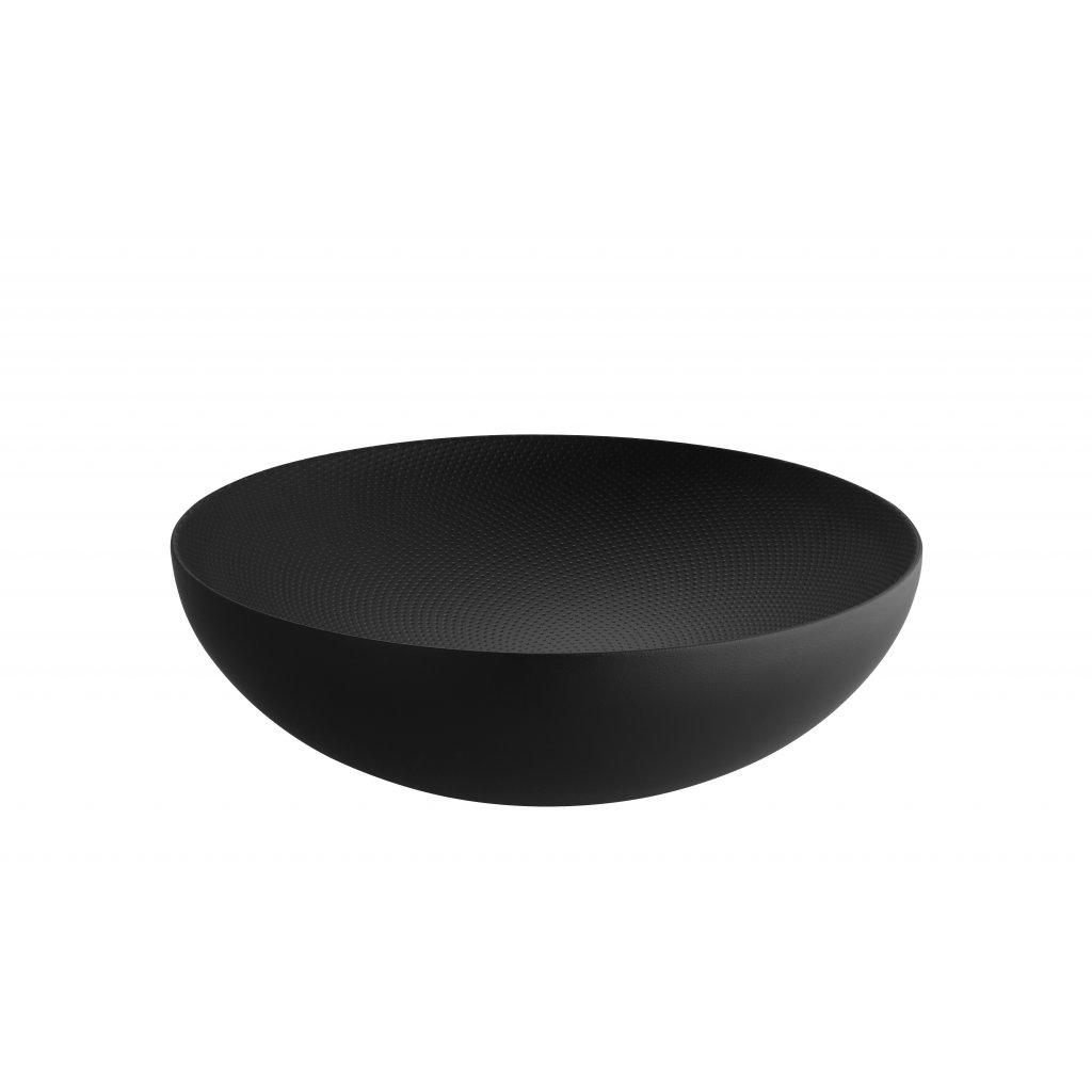 """Dvouplášťová ocelová mísa """"Double"""" s reliéfním vzorem, černá, 25 cm - Alessi"""