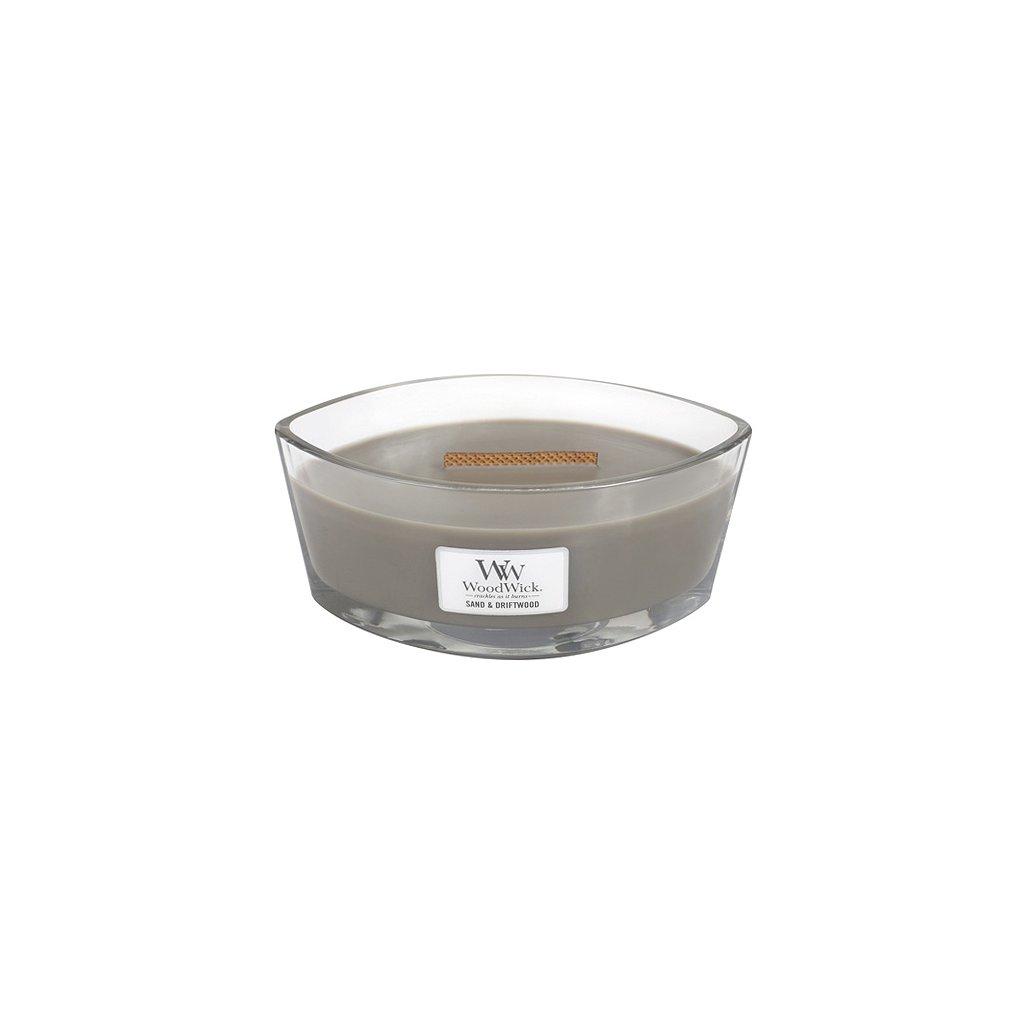 Svíčka dekorativní váza WoodWick Písek a naplavené dříví, 453.6 g