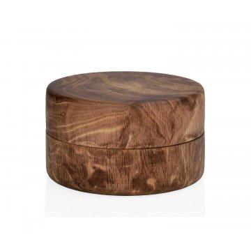 caja decorativa redonda de madera de mango