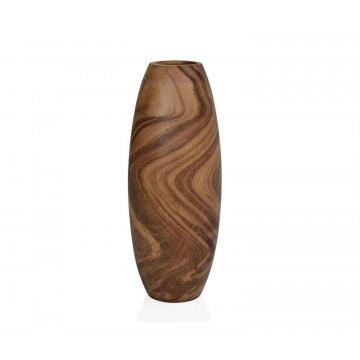 florero alto redondeado de madera de mango ecologica hecho a mano