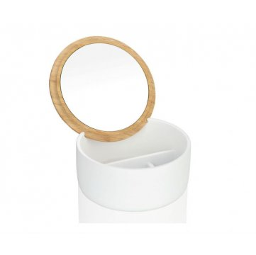 joyero blanco y redondo con tapa de bambu y espejo