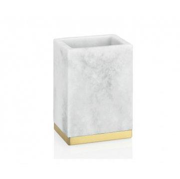 portacepillos rectangular efecto marmol con ribete dorado