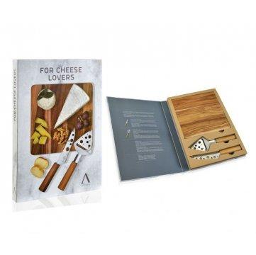 set gourmet de dos cuchillos y tabla de madera para amantes del queso