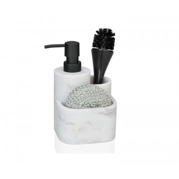 dispensador de jabon para platos efecto marmol con compartimento para estropajo y cepillo