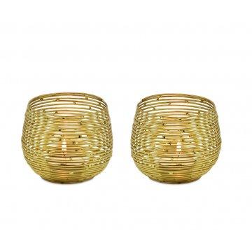Svícen na čajovou svíčku ROSEVILLE zlatý, set 2 ks / v. 8 cm - EDZARD