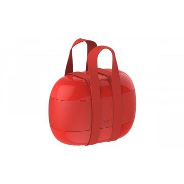 Obědový box se 3 přihrádkami, červený - Alessi