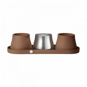 pack 10017658 TERRA tray incl 3 pots terracotta stainless steel