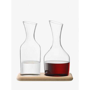 Sada karaf na vodu a víno & dubový podstavec Wine, 1.2 L/1.4 L, čiré - LSA International