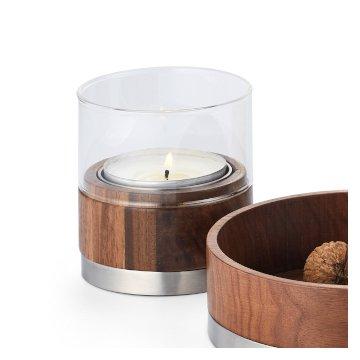 353004 353005 353006 JULIE designer windlicht walnussholz teelichthalter glas