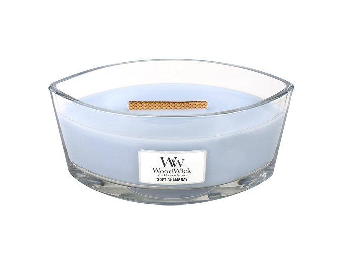 Svíčka dekorativní váza WoodWick Čisté prádlo, jasmín a růže, 453 g