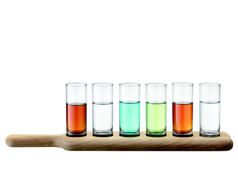 LSA Paddle dřevěný tác se skleničkami na destilát, čiré, 6 ks