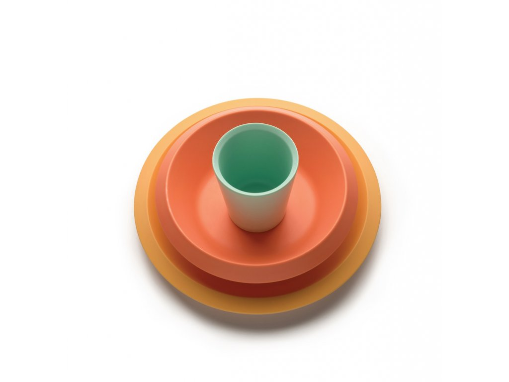 41471 detsky jidelni set zluta oranzova zelena alessi