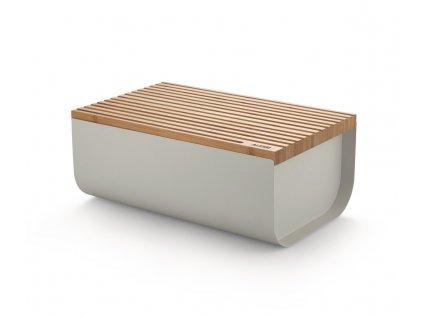 41510 ocelovy chlebnik mattina s krajecim prkenkem svetle sedy alessi